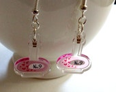Love Potion No. 9 clear acrylic charm earrings