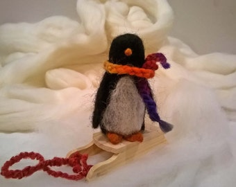 Penguin Wool Doll with Wood Sled