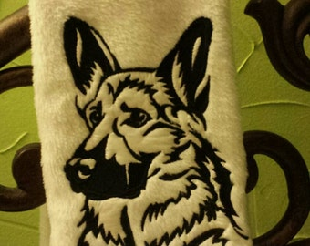 Personalized Embroidered German Shepherd decorative hand Towel