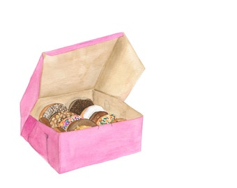 A Dozen Donuts in a Classic Pink Bakery Box, Doughnut with Sprinkles, Chocolate Donut -  Illustrated Art Print for Foodies
