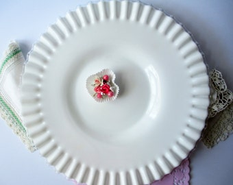 Fenton Milk Glass Silver Crest Footed Cake Plate - Vintage Chic