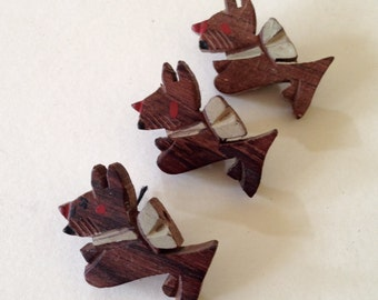 Set of Three Vintage Buttons, Scotty Dogs Made of Wood