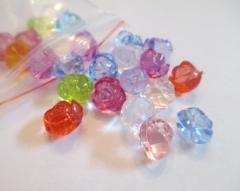 20 Acrylic Rose Flower Beads Jewelry Making
