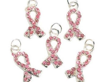 6 Pink Ribbon Breast Cancer Awareness Charms Jewelry Supplies