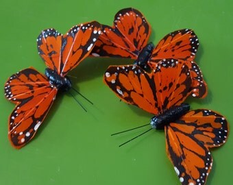 Butterfly Hair Clips Orange Black Wedding