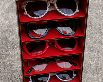 5ct Sunglasses Organizer Display Rack Stand Case Box Drawer Eyewear Holder LOBSTER RED Sunglass Shelf HANDMADE in Tx