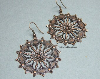 Copper Filigree Earrings/Copper Earrings/Large Copper Earrings