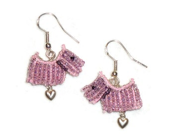 Pink Beaded SCOTTIE DOG Scottish Terrier sterling silver dangly earrings / Ready to Ship/ Free US Shipping