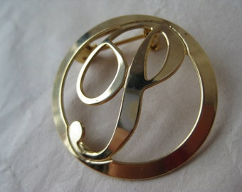 P Initial Gold Brooch Pin