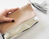 LEATHER CLUTCH /// Nude and Silver Leather, Color Block Clutch, Leather, Handbag, Tassel, Metallic Clutch