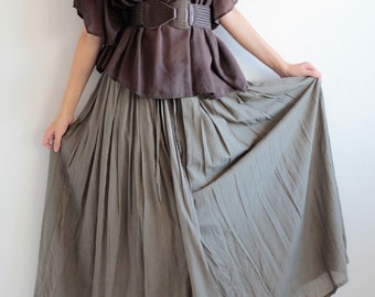 Hope Floats...Sweet full maxi skirt...Any color mix silk (one size fits S-L)