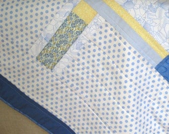 White and Blue Handmade Baby Quilt