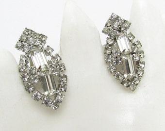 Vintage Rhinestone Earrings Clip Bridal Jewelry E7153
