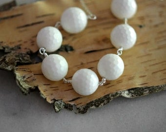 White Gemstone Necklace, Faceted White Jasper, Silver, Beaded, Summer Fashion