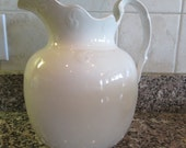 Large vintage white ironstone pitcher/ wash pitcher with beautiful embossed design- solid, beautiful, fine condition, Thompson, Sydney