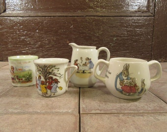 Vintage sugar bowl and creamer plus two cups- Wedgwood Peter Rabbit sugar bowl , PK Unity creamer and two sweet cups for one price