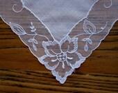 Antique Wedding Handkerchief, Vintage Wedding Handkerchief, Lace Handkerchief, Tambour Lace Handkerchief, French Net Lace Handkerchief
