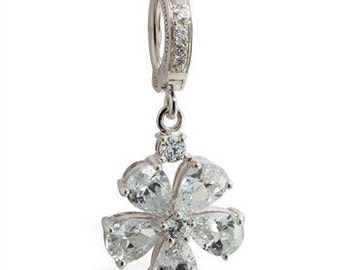 Clear Cz Flower Charm Sterling Silver Belly Button Ring by TummyToys (68021)