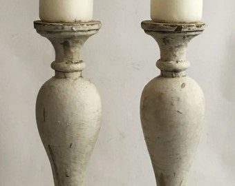 TW0(2) RECLAIMED Wood Balusters SHABBY Candle Stands Crusty White Vintage Chic 133-16
