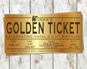 Printable Golden Ticket Willy Wonka Birthday Party Invitation - Golden Ticket Invitation - Faux Foil Party Invitation