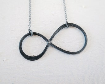 Infinity Necklace - Extra Large Oxidized Solid 925 Sterling Silver Link - Insurance Included