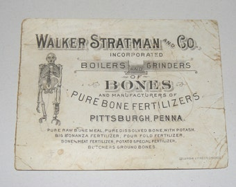 Rare Antique Walker Stratman and Co Boilers and Grinders of Bones Skeleton Trade Card Advertisement Litho