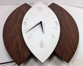 Vintage art deco wall clock works fine ready to hang electric white and wood colors