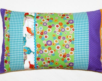 decorative pillow cover flowers, polka dot, gingham patchwork cushion cover 12 x 20 inches