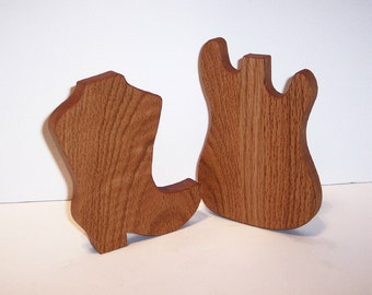 Mini Guitar and Mini Boot Cutting Boards Handcrafted from Oak