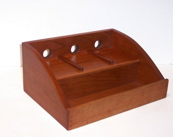 Charging Station / Docking Station (FREE  SHIPPING)  for  iPhone, cell phone, MP3 player  Handcrafted in Cherry with attached power strip