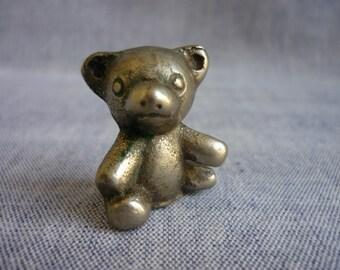 Vintage Pewter Teddy Bear, Miniature Bear Figurine,