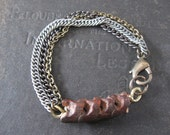 RESERVED FOR CHRISTOPHER - 8.5 inches custom length - Snake Vertebrae with Mixed Chain