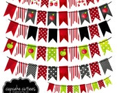 Watercolor Apples -Bunting and Bannersi DIGITAL Clipart Elements -Commercial use -Instant Download