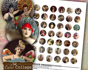 Burlesque Digital Collage Sheet for Bottle Cap Pendants, Resin Jewelry, Magnets, Decoupage Paper, Calico Collage Graphics, Printable Images