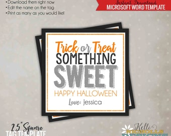 Trick or Treat Somthing Sweet Printable Halloween Tag, Happy Halloween Candy Bag Tag, Printable Instant Download