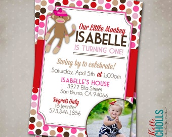 Little Girl Sock Monkey Birthday Party Invitation, Custom 1st Birthday Printable Sock Monkey Invite