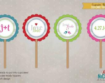 Custom Love Birds Bridal Shower Cupcake Toppers, Wedding Shower Decorations