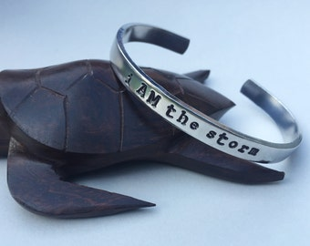 I AM the Storm- Stamped Cuff Bracelet, Stamped Jewelry