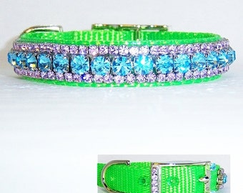 8 in Blue and Violet Crystal on Lime Green Dog Collar