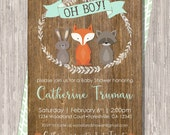 Woodland Baby Shower Invite with Forest Animals, 5x7 Printable JPG