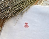 Lovely Vintage French Linen Monogrammed Sheet