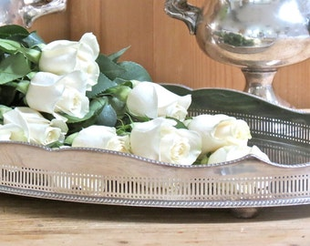 Vintage Beautiful......English Silver Plate Gallery Tray
