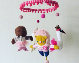 Animals in Outfits Baby Mobile ---  Made to Order --- Modern Nursery
