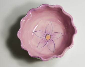 Lavender Bowl / Small Cereal Bowl / Handpainted with Flower