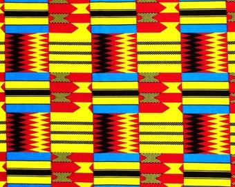 African Fabric 1/2 Yard Cotton Golden YELLOW BLUE BLACK Red Kente Print
