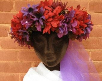 Autumn Head Wreath Red & Purple Halloween Costume Accessorie
