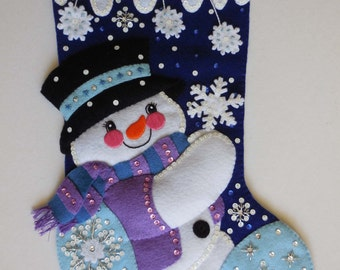 Finished Christmas Stocking - Let it Snow