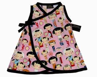 Japanese Clothing- Kokeshi Doll - Geisha Kimono - Baby Girl Dress - Harajuku Dress- Girls Dress - Japanese Baby Clothes - nb - 6m