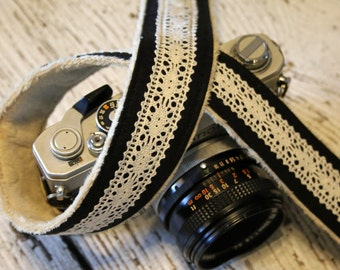 Lace Camera Strap - Black Linen Camera Strap - dSLR Camera Strap - Camera Strap - Cute Camera Strap - Camera Strap Fits Nikon - Gift For Her