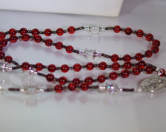 Amber & Silver Rosary - Made to Order - Choose your Cross and Connector